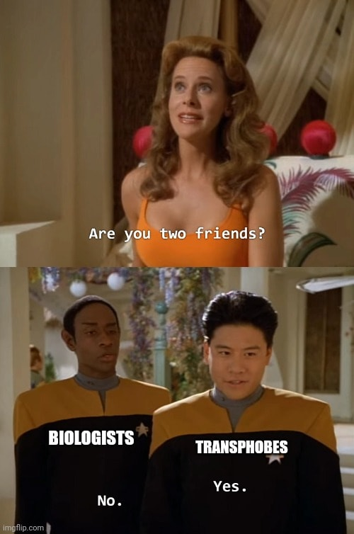 """Meme created by Tara Dax. At the top, an image with a female alien character saying """"Are you two friends?"""". At the bottom, two characters from Star Trek Voyager; Tuvok on the left with the text """"no"""" and """"biologists"""", and Harry Kim on the right with the text 'yes"""" and """"transphobes""""."""
