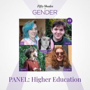 Fifty Shades of Gender podcast image about Higher Education with Kit Rackley, Barney, Charlie, Jacob & Ro